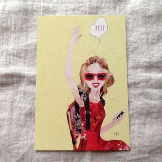 丸田ちひろ ちぎり絵ポストカード  「女の人」