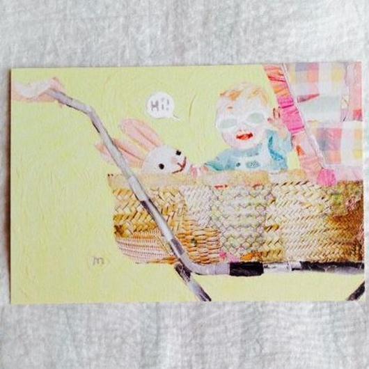 丸田ちひろ ちぎり絵ポストカード  「赤ちゃん」