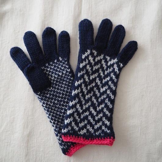 手袋(Navy×Pink) / marshell【⭐︎季刊誌掲載アイテム⭐︎】