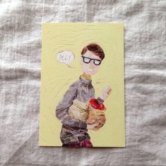 丸田ちひろ ちぎり絵ポストカード  「男の人」
