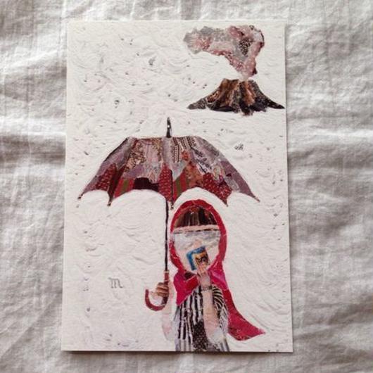 丸田ちひろ ちぎり絵ポストカード  「灰ガール」
