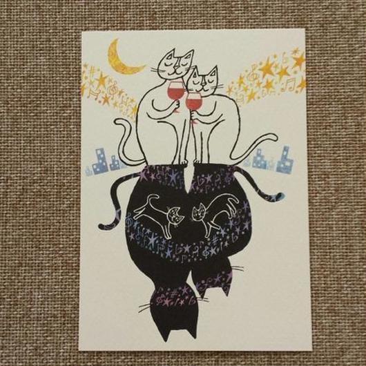 おかべてつろう ポストカード「月灯りの下で。」