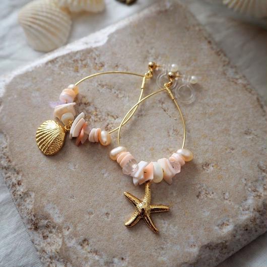 フープイヤリング pink shell & pearl / Lagomt