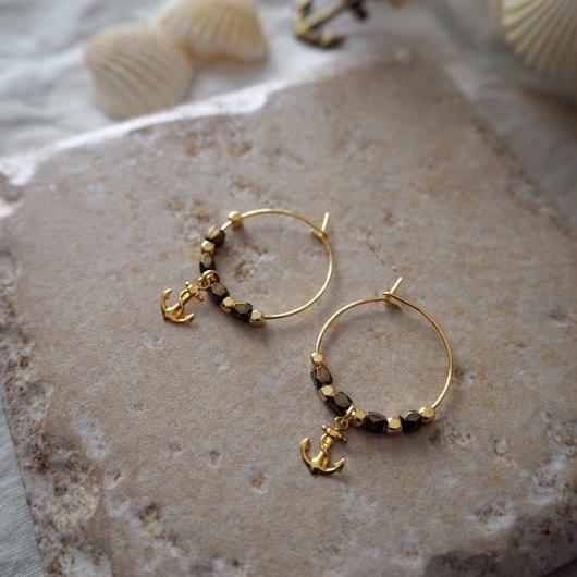 フープピアス Gold anchor / Lagomt