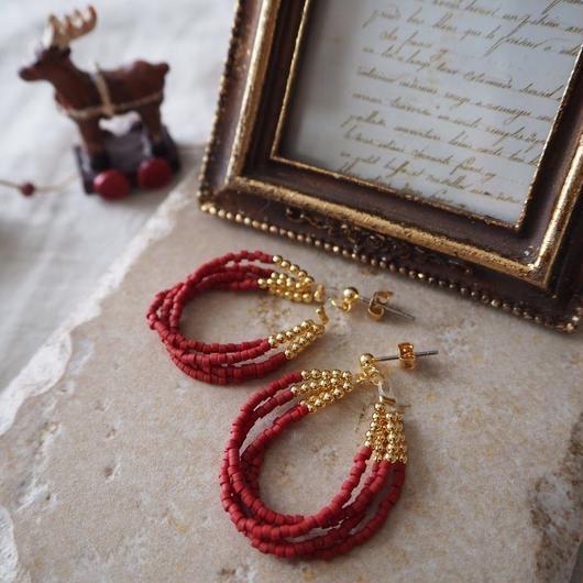 ビーズピアス(Jingling)Holiday red / Lagomt