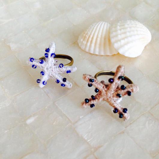 【a.e.i.】刺繍アクセサリー 〜Mermaid Series〜「ヒトデのピンキーリング」