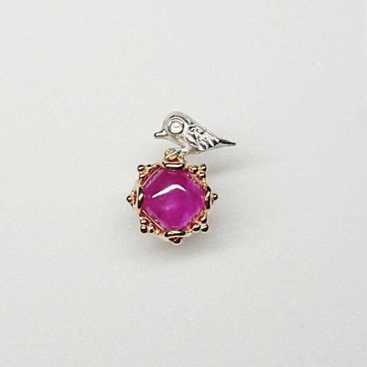 Silver(k18gp) Single earring (Tiny bird - Ruby)