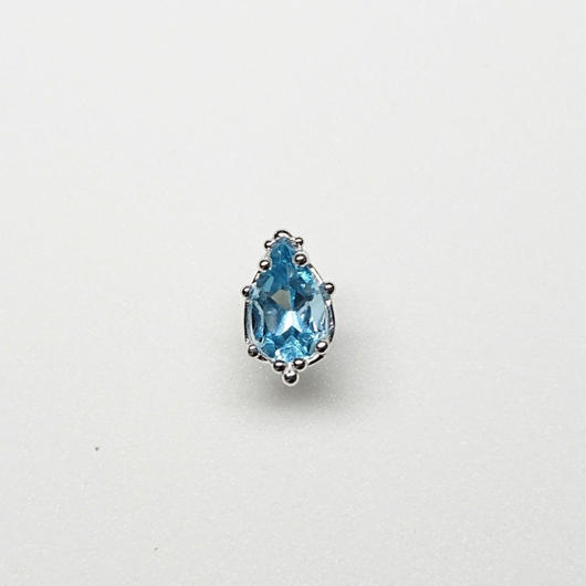 Silver(RH) Single earring (London blue topaz)