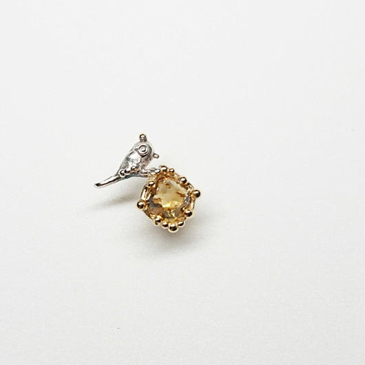 Silver(k18gp) Single earring (Tiny bird - Citrine)