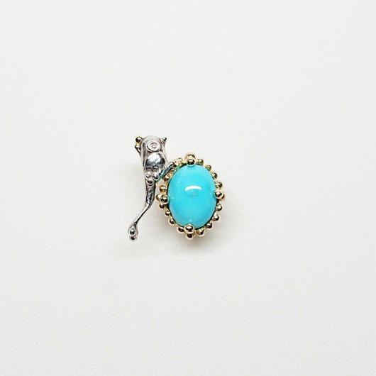 Silver(k18gp) Single earring (Tiny bird - Turquoise)