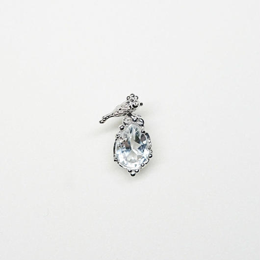 Silver(RH) Single earring (Tiny bird - Crystal)