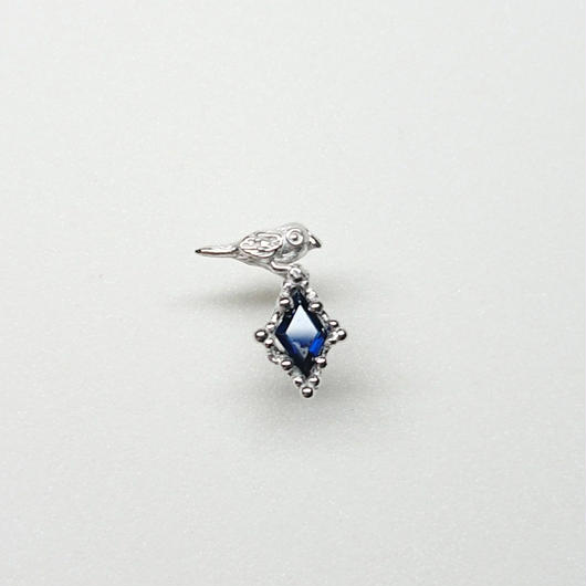 Silver(RH) Single earring (Tiny bird - Blue sapphire)