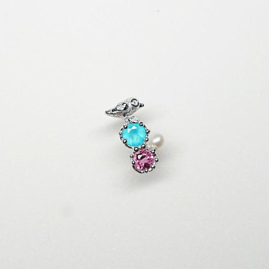 Silver(RH) Single earring (Tiny bird - Sea blue chalcedony/Pink topaz/Pearl)