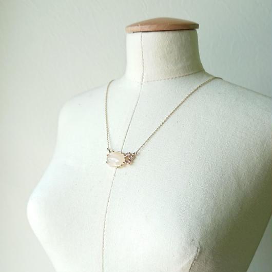 K10 Necklace (Orange moon stone / Rose quartz)