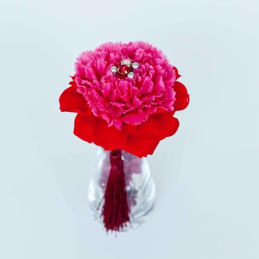 Jewel Flower プリザーブドフラワーガラス花器付き(RED)