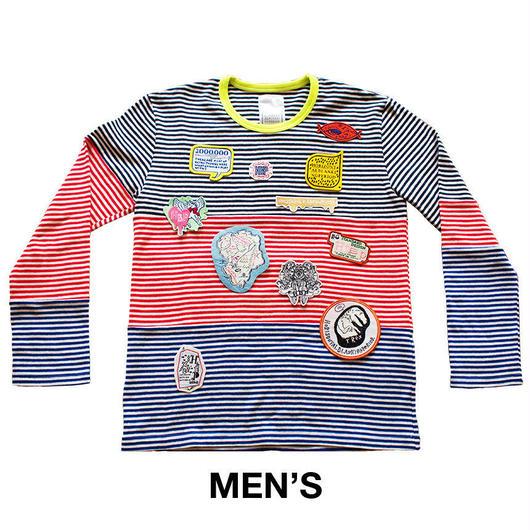 HORIZONTAL BLANKING PERIOD. グラフィックワッペン付きボーダーTシャツ(長袖)