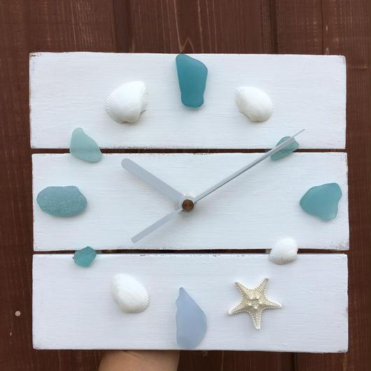 wood clock~Shell&Seaglass~