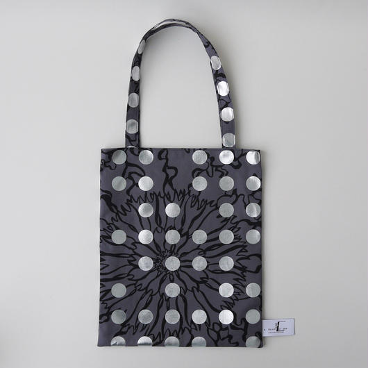 LC TOTE  - BUBBLE FLOER-(SILVER)