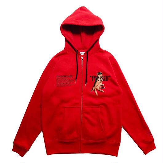 -TWISTED- FRONT ZIP HOODIE (RED)