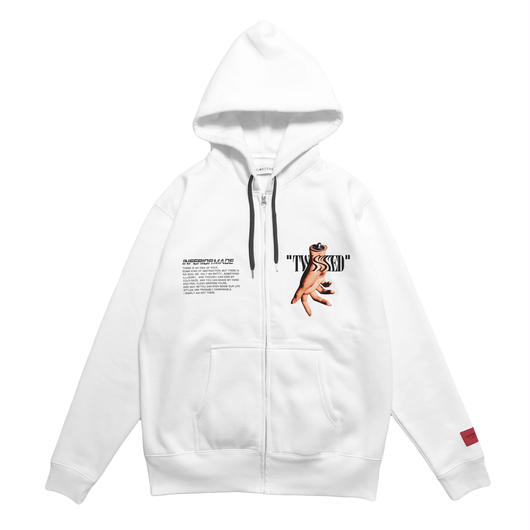 -TWISTED- FRONT ZIP HOODIE (WHT)