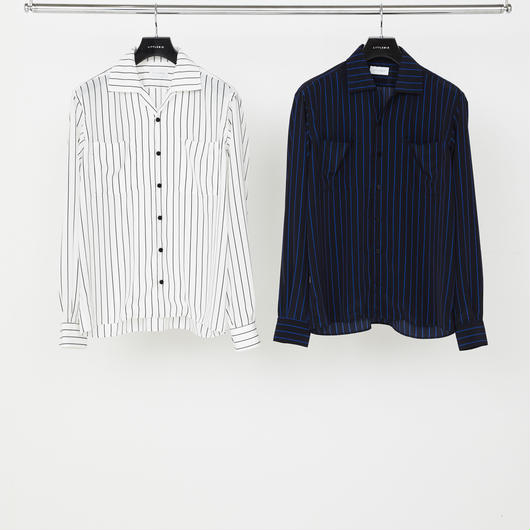 Stripe Open Collared SH