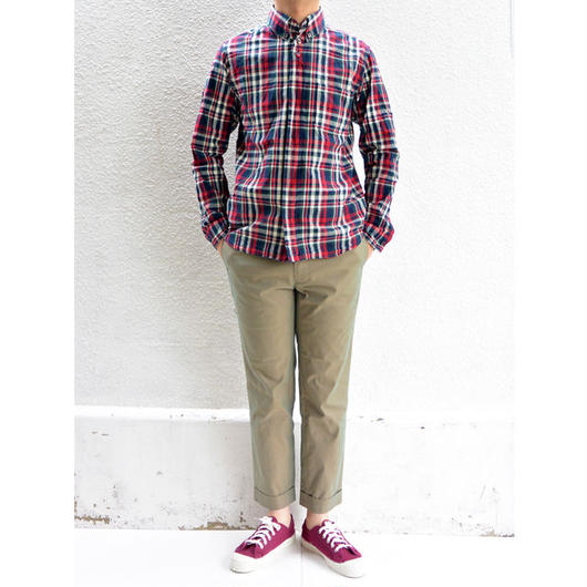 nisica(ニシカ)ボタンダウンシャツ チェック柄RED