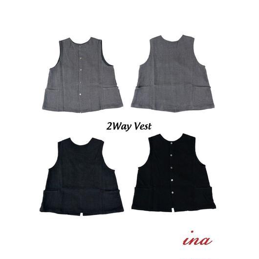 ina(イナ)身頃切替え綿麻2Way Vest