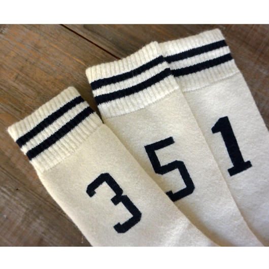 Jackman Sock3 Wool Line Socks Off White×Navy(JM6430)