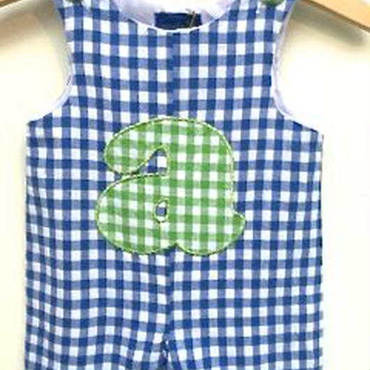"""148.【USED】Initial """"a"""" Check Rompers"""