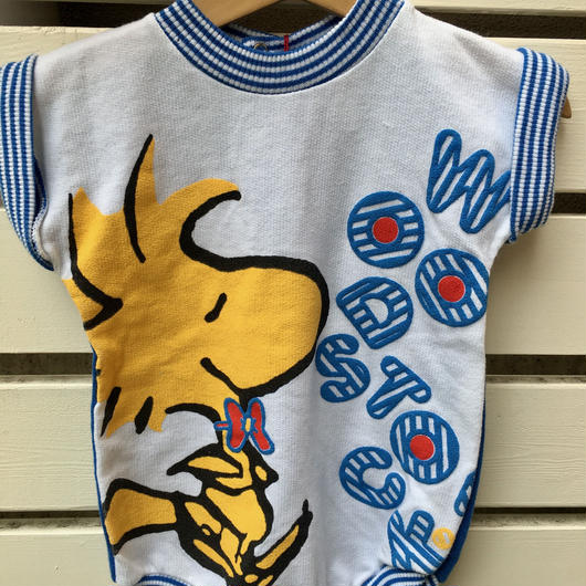 "【USED】"" SNOOPY Woodstock"" Blue short sleeve Rompers ( Made in U.S.A.)"