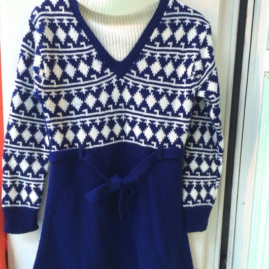 【USED】Vintage Knit V-neck Dress