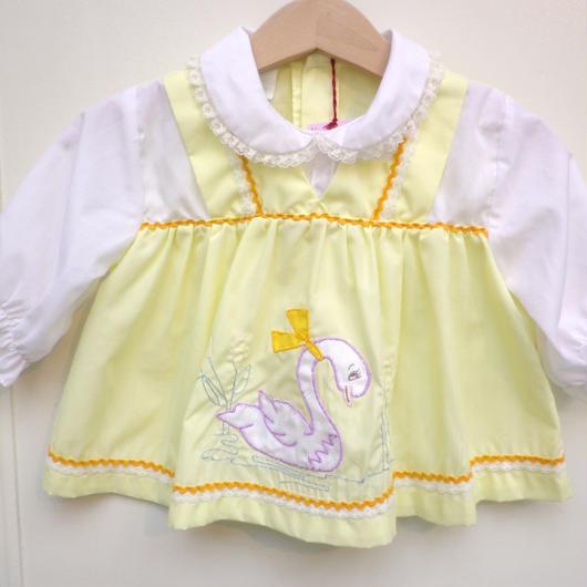 【USED】Vintage Swan Motif Yellow Dress