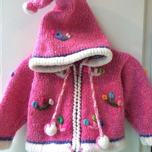 【USED】Pink knit Hoodie