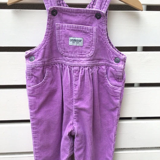 "132.【USED】""OSHKOSH""corduroy pastel purple overall"