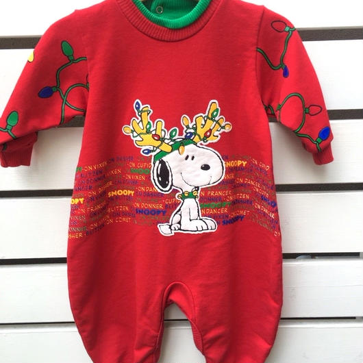 "338.【USED】""SNOOPY"" Christmas motif rompers (made in U.S.A.)"