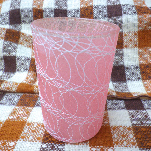 【USED】Vintage 50's Squiggle Small Pink Glass