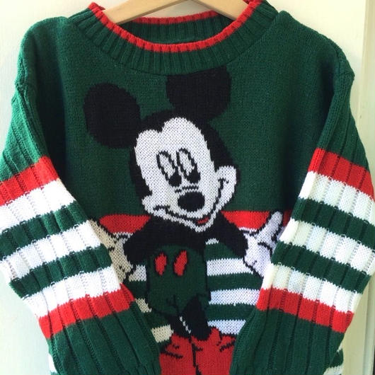 【USED】Mickey knit sweater (Made in U.S.A.)
