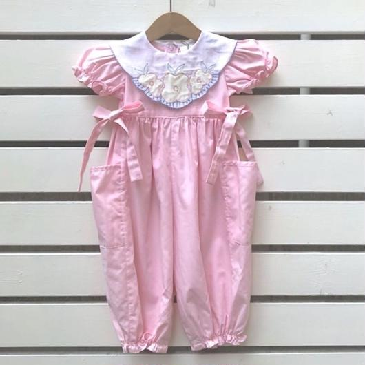 【USED】Pink Flower motif Rompers