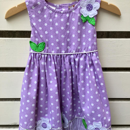 【USED】Purple Dot flower motif Dress