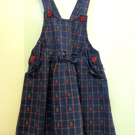 """A.【USED】OLD """" Carter's"""" cotton check print dresss"""