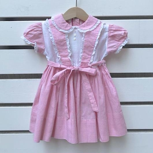 【USED】Pink cotton frill Dress(vintage item)