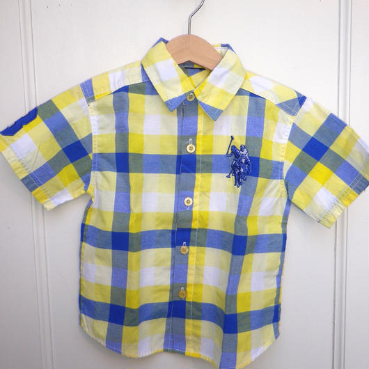 【USED】Yellow Blue Check Shirts