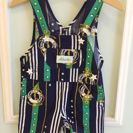 214.【USED】Star button Marine print Overall