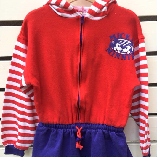 """【USED】""""MICKEY & MINNIE"""" motif middle length hoodie(made in U.S.A.)"""