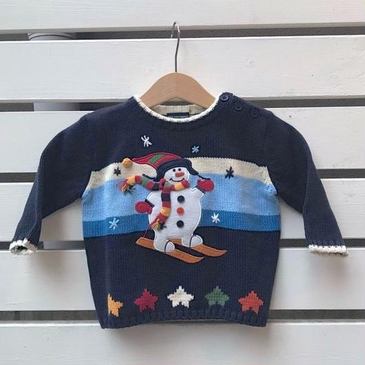 404.【USED】Skiing Snowman  Knit sweater