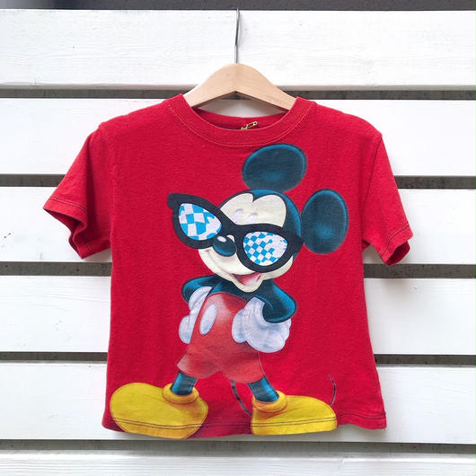 "1.【USED】""MICKEY MOUSE"" motif  Red  T-shirts"