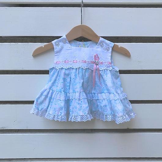 65.【USED】Fancy blue× pink lace design Dress