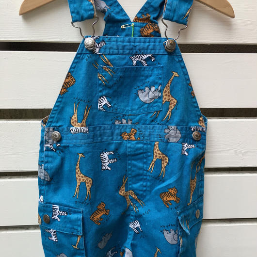 【USED】Animal blue short overall