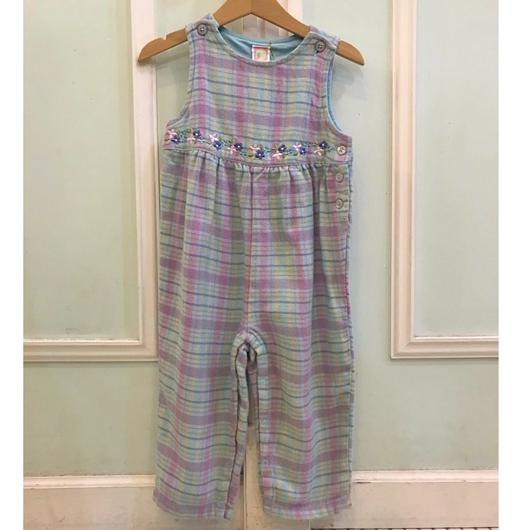 391.【USED】Blue Check Flower Rompers