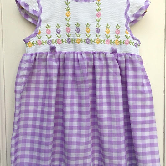 【USED】VINTAGE Purple Gingham Dress